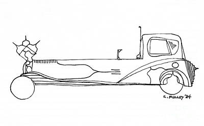 Funny Car Drawing - Car No. 5 by Charles Pulley