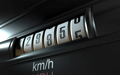 Car Odometer High Art Print by Allan Swart