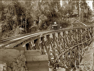 Photograph - Car On A Wooden Railroad Trestle Circa 1915 by California Views Mr Pat Hathaway Archives