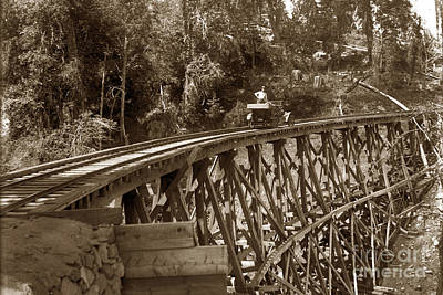 Photograph - Car On A Wooden Railroad Trestle Circa 1916 by California Views Archives Mr Pat Hathaway Archives