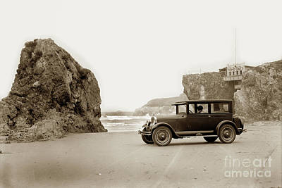 Photograph - Car On Beach Pismo Caves 1926 by California Views Mr Pat Hathaway Archives
