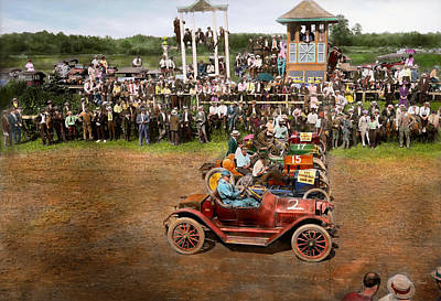 Photograph - Car - Race - On The Edge Of Their Seats 1915 by Mike Savad