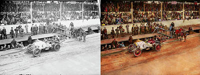 Photograph - Car Race - Racing To Get Gas 1908 - Side By Side by Mike Savad