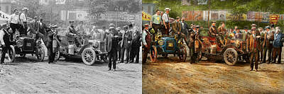 Photograph - Car - Race - The End Of A Long Journey 1906 - Side By Side by Mike Savad
