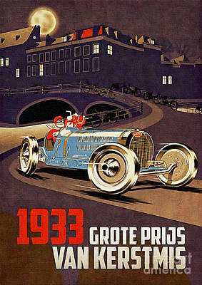 Painting - Car Racing Christmas Poster Of The 30s by Ian Gledhill