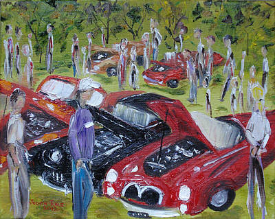 Barrett Jackson Wall Art - Painting - Car Show by Judith Rhue