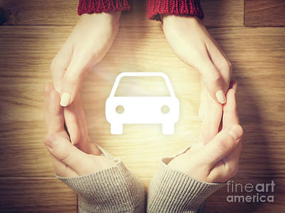 Photograph - Car Symbol Inside Hands Circle. Concept Of Car Insurance by Michal Bednarek