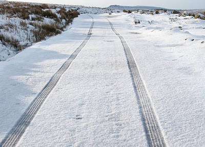 Photograph - Car Tracks In The Snow by Helen Northcott
