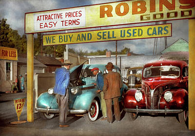 Photograph - Car - Used - The Sales Pitch 1939 by Mike Savad