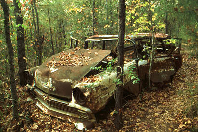 Artist Photograph - Car Wreck In The Forest by Art America Gallery Peter Potter