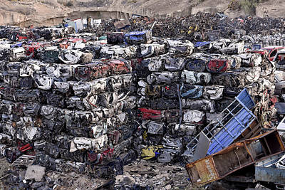 Photograph - Car Wrecks Scrap Yard by Marek Stepan