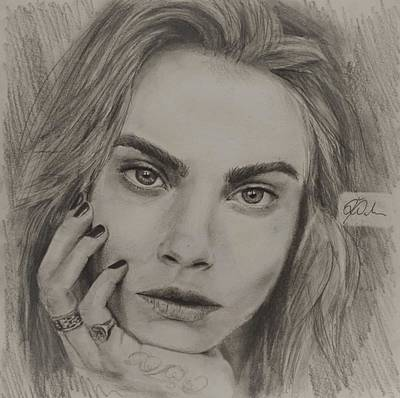 Super Girl Drawing - Cara by Delia Palmer