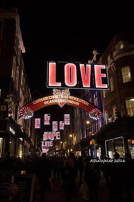 Night Photograph - Carnaby Street London Love by April Bielefeldt