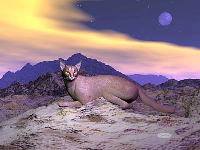 Lurk Digital Art - Caracal Or Desert Lynx - 3d Render by Elenarts - Elena Duvernay Digital Art