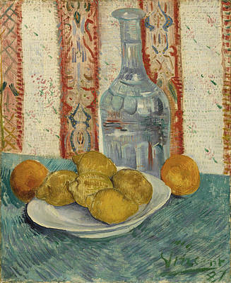 Glass Oil Dish Painting - Carafe And Dish With Citrus Fruit by Vincent Van Gogh