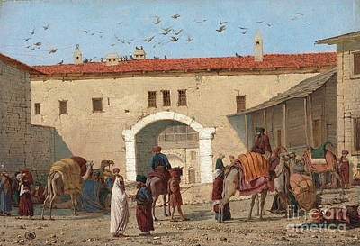 Women On Horses Painting - Caravanserai At Mylasa I by MotionAge Designs