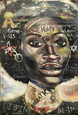 African Art Painting - Carbon Angelian, Galaxy Of Divine by Sean Ivy aka Afro Art Ivy