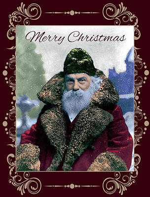 Photograph - Card 1895 Santa by Robert G Kernodle