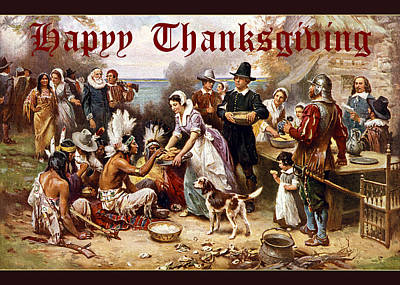 Digital Art - Card First Thanksgiving by Robert G Kernodle