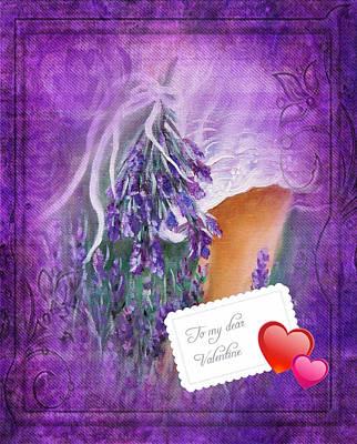 Painting - Card, Lavander by Vesna Martinjak