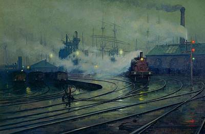 Victorian Painting - Cardiff Docks by Lionel Walden
