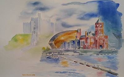 Painting - Cardiff Memoir In Watercolor by Geeta Biswas