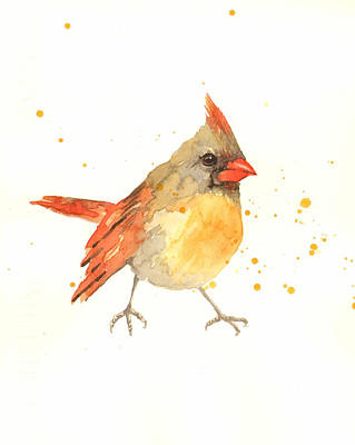Cardinal Painting - Cardinal - Female Cardinal by Alison Fennell