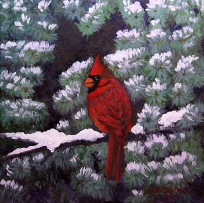 Painting - Cardinal And Blue Spruce by Janet Greer Sammons