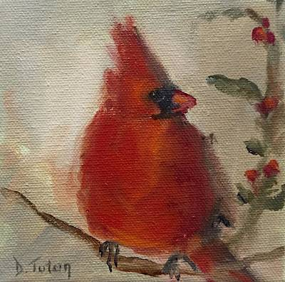 Cardinal Painting - Cardinal And Holly by Donna Tuten