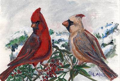 Painting - Cardinal Berries by Elizabeth Lane