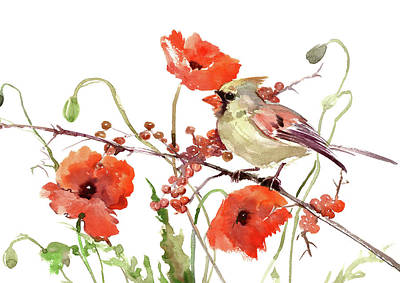 Painting - Cardinal Bird And Poppies by Suren Nersisyan