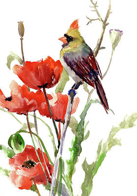Painting - Cardinal Bird And Poppy Flowers by Suren Nersisyan