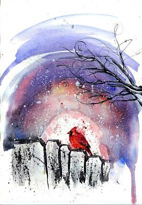 Fashion Abstraction Painting - cardinal Bird by Doriana Popa