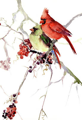 Painting - Cardinal Birds, Two Cardinal Birds Design by Suren Nersisyan