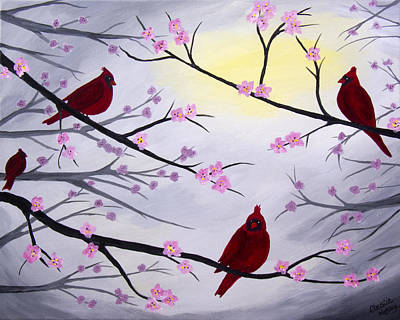 Painting - Cardinal Blossoms by Christie Nicklay