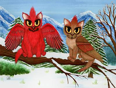 Art Print featuring the painting Cardinal Cats by Carrie Hawks