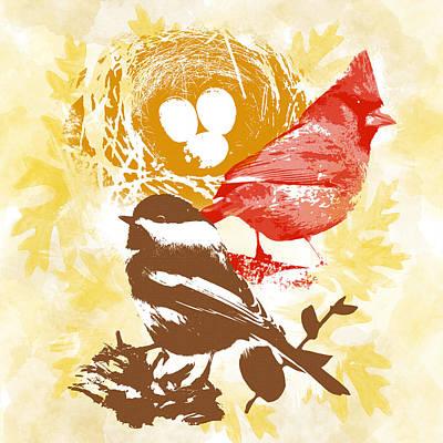 Cardinal Mixed Media - Cardinal Chickadee Birds Nest With Eggs by Christina Rollo