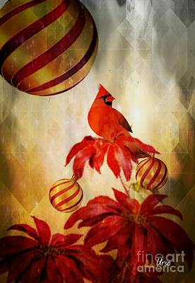 Digital Art - Cardinal Christmas by Maria Urso