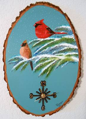 Art Print featuring the painting Cardinal Clock by Al  Johannessen