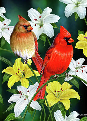 Cardinal Bird Painting - Cardinal Day 2 by JQ Licensing