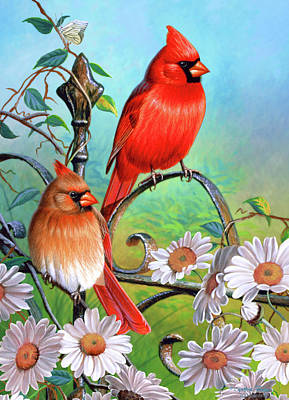 Songbird Painting - Cardinal Day 3 by JQ Licensing