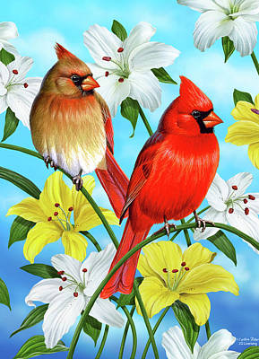 Bird Painting - Cardinal Day by JQ Licensing