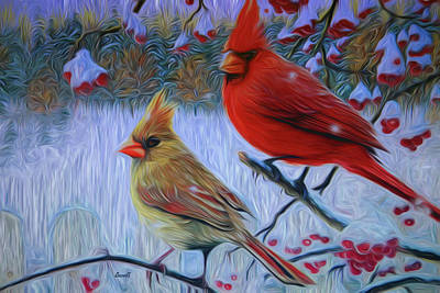 Digital Art - Cardinal Family by Dennis Baswell