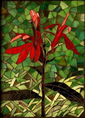 Glass Art - Cardinal Flower by Julie Mazzoni