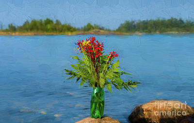 Digital Art - Cardinal Flowers On A Rock by Les Palenik
