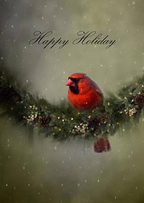 Photograph - Cardinal Happy Holiday  by Ann Bridges