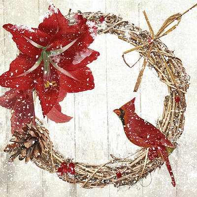 Wreath Painting - Cardinal Holiday II by Mindy Sommers