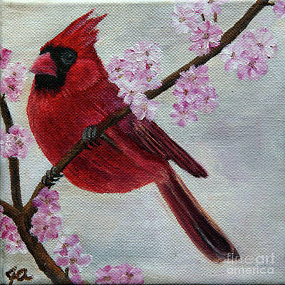Painting - Cardinal In Cherry Blossoms by Jane Axman
