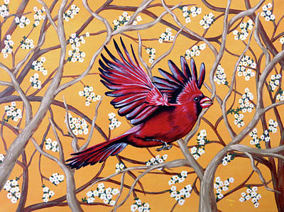 Art Print featuring the painting Cardinal In Flight by Teresa Wing