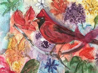 Painting - Cardinal In Flowers by Lucille Valentino